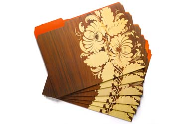 Damask file folders from Delight.com
